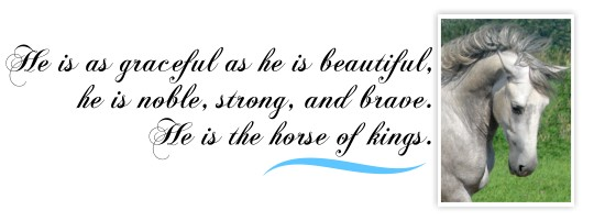 Alano - He is as graceful as he is beautiful,  he is noble,  strong,  and brave. He is the horse of kings.